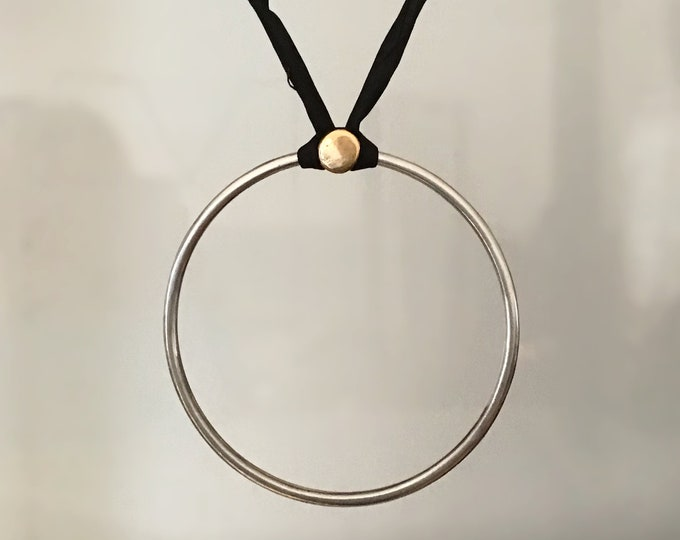 Large Sterling Silver Circle Pendant with 14K Yellow Gold Detail on Silk Cord, Adjustable