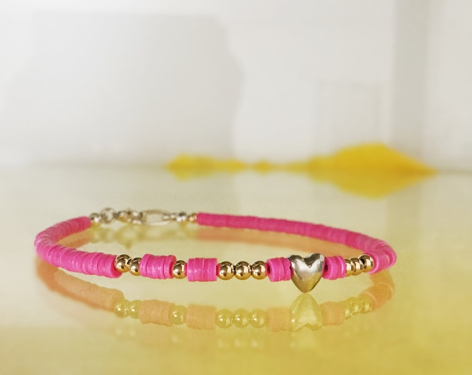 Handcrafted Hot Pink Summer Bracelet with Solid 18k Yellow Gold Beads and Sterling Silver Heart