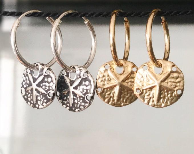 Little Sterling Silver /14K Goldfilled Sand Dollar Summer Earrings