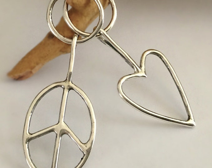 Large Unique Handcrafted, Mismatched Sterling Silver Love & Peace Earrings