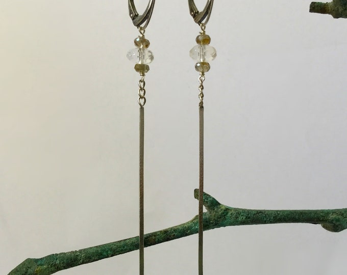 Long Sterling Silver Earrings with Faceted Crystal Quartz