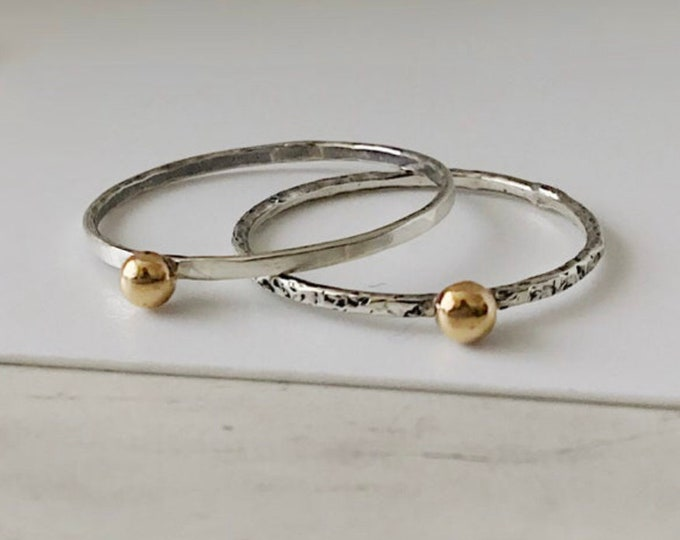 Sterling Silver Ring Band with 14k Yellow Gold Pebble, All Sizes