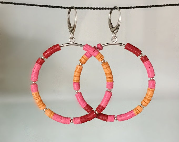 Large Handcrafted Sterling Silver Hoops with African Vinyl Beads