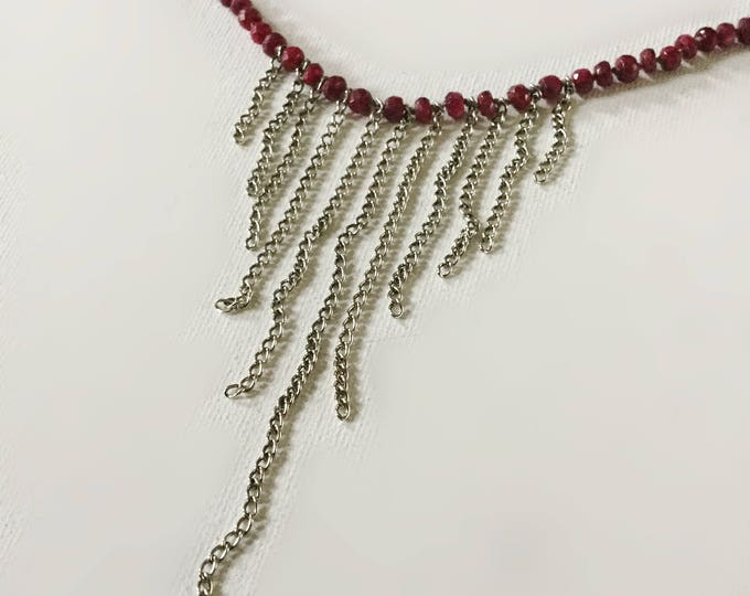 Sterling Silver Ruby Fringe Necklace