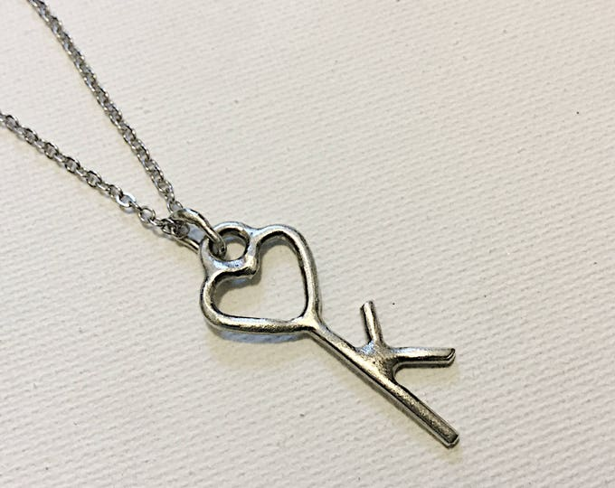 Heart Key Pendant with Initial