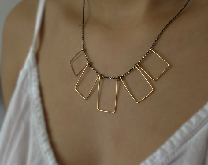 Handcrafted 14k Yellow Gold Filled and Sterling Silver Geometric Necklace