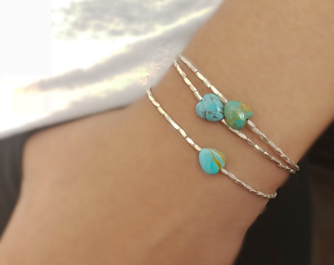 Bracelet with African Turquoise Heart and Hill Tribe Silver Beads