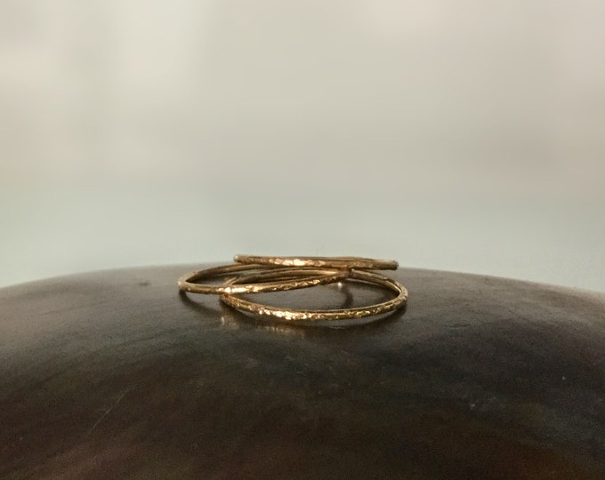 Skinny Handcrafted 14k Yellow Gold Filled Ring Bands