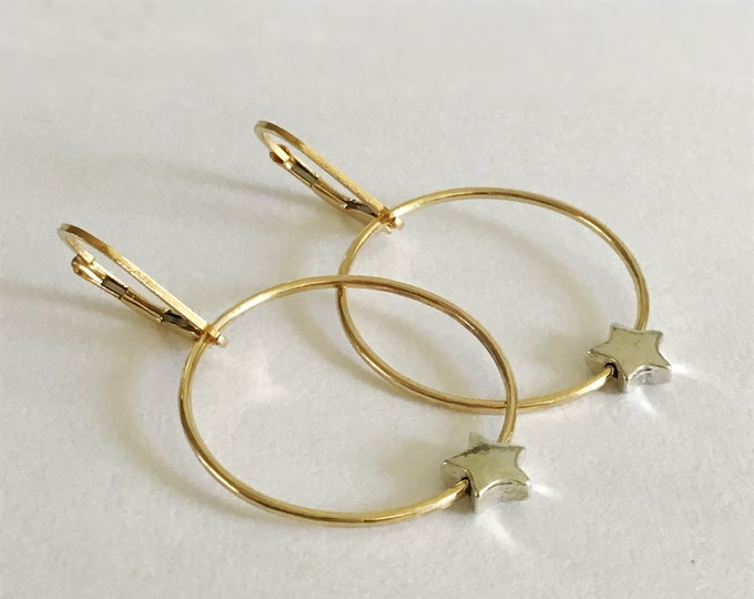 Hoop Earrings with Spinning Silver Star in 14k Gold Filled/ Sterling Silver, Hoops with Star for Girls, Earrings for Women