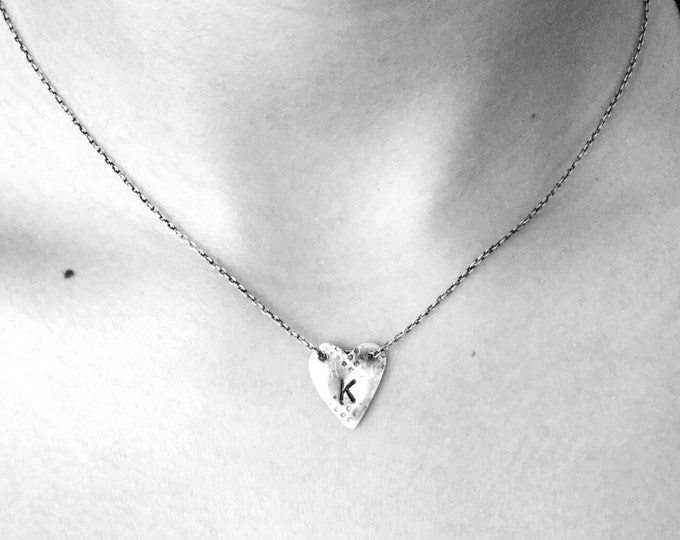 Handcrafted Delicate Sterling Silver Necklace with Initial Heart