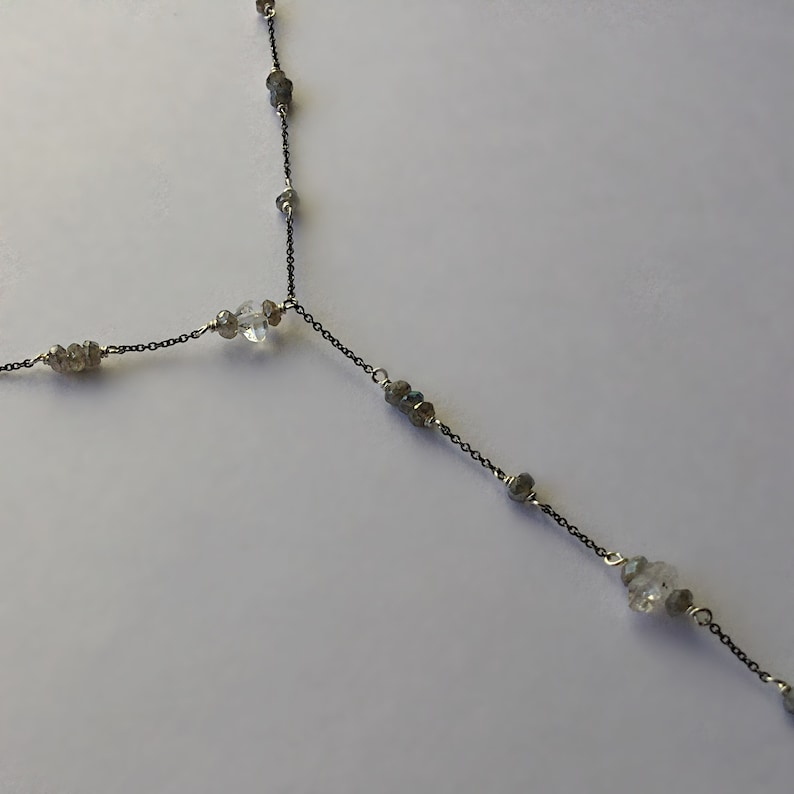 Sterling Silver Y-Necklace With Herkimer Diamonds and Labradorite