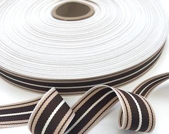 Sold by the Yard Black Stripe Vintage Grosgrain Ribbon Acetate 18 mm Wide