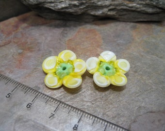 Large Opaque-ish Flowers (bead pair) SRA Artisan Lampwork Glass Beads by Beth Mellor Beeboo