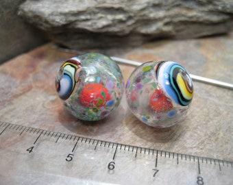 Floral Frit Hollow Rattles (bead pair) SRA Artisan Lampwork Glass Beads by Beth Mellor Beeboo
