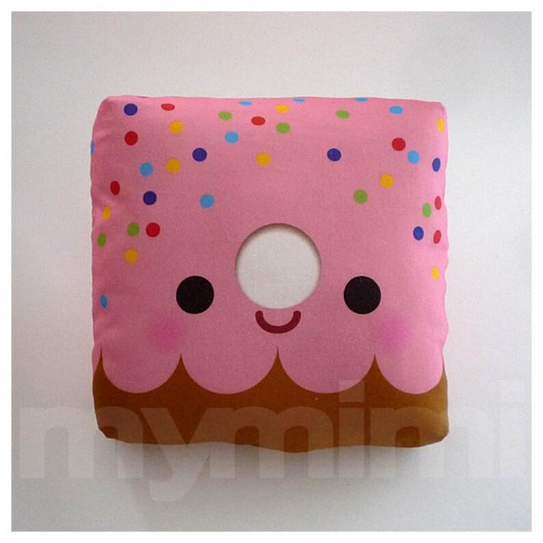 Decorative Pillow Donut Pillow Pink Donut Rainbow image 0