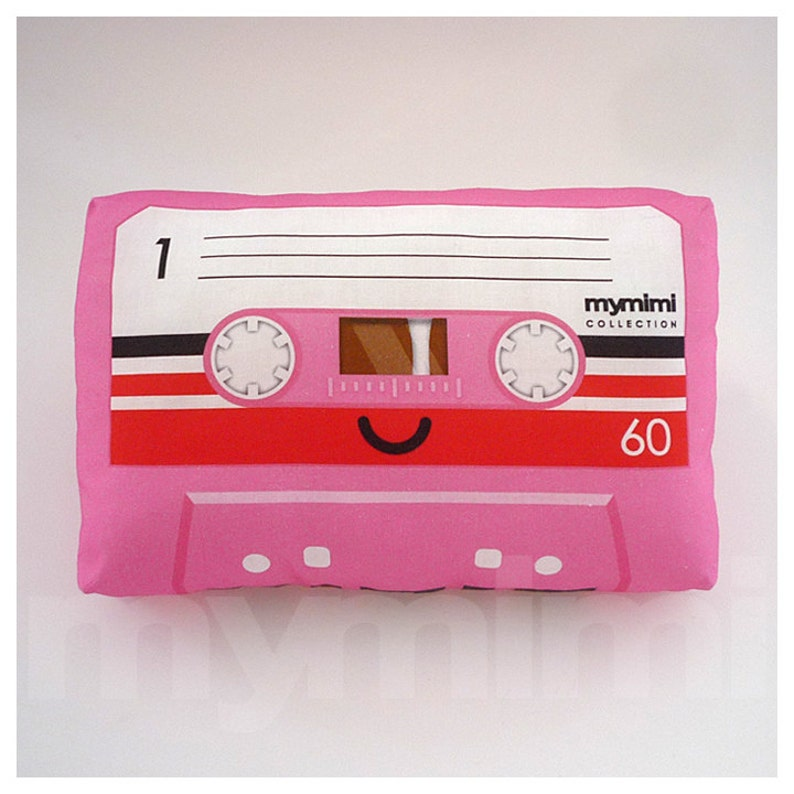 Decorative Pillow Cassette Tape Pillow Pink Theme Vintage image 0