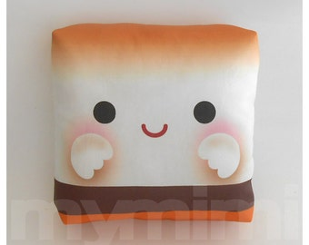 Decorative Pillow, Marshmallow Pillow, S'more, Camp Pillow, Slumber Party, Kawaii, Cushion, Room Decor, Gift Basket, Childrens Toys, 7 x 7""