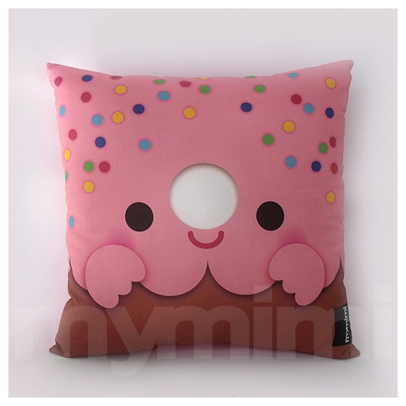12 x 12 Pink Donut Pillow Stuffed Toy Kids Room Decor image 0