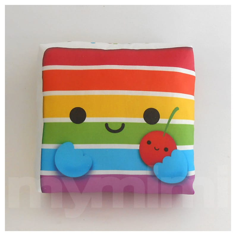 Rainbow Cake  Decorative Pillow  Throw Pillow  Kawaii image 0
