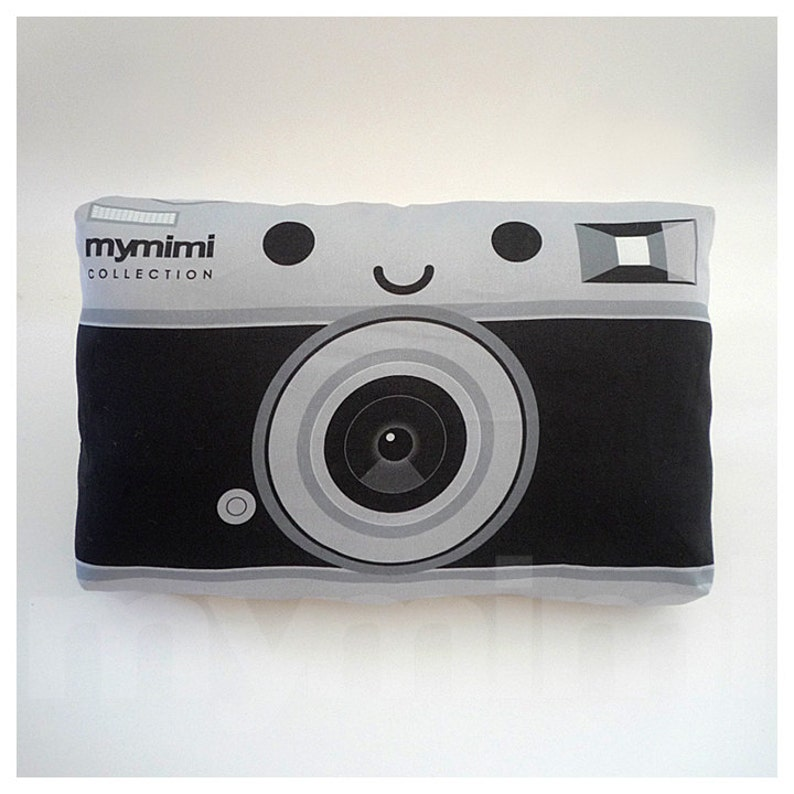 Retro Pillow Camera Pillow Black and Silver Old School image 0