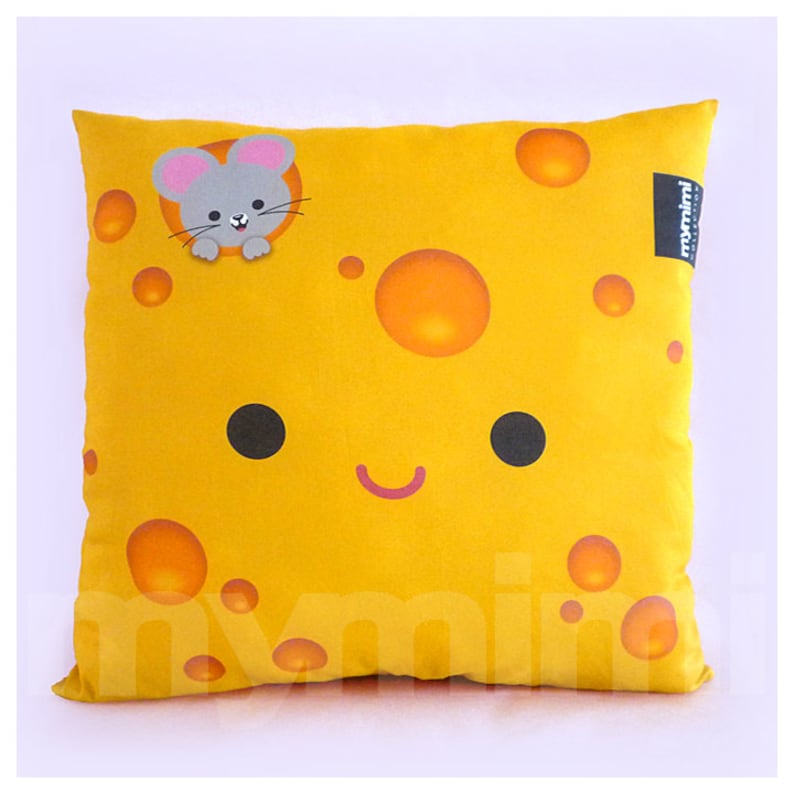 12 x 12 Yellow Pillow Cheese Pillow Food Pillow image 0