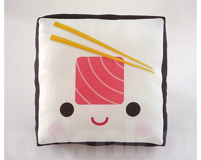 "Decorative Pillow, Sushi Pillow, Tuna Roll, Japanese Food, Cushion, Kawaii, Home Decor, Room Decor, Dorm, Childrens Toys, 7 x 7"""