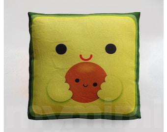 Avocado Pillow, Decorative Pillow, Mini Pillow, Kawaii Print, Toy Pillow - Kawaii Avocado