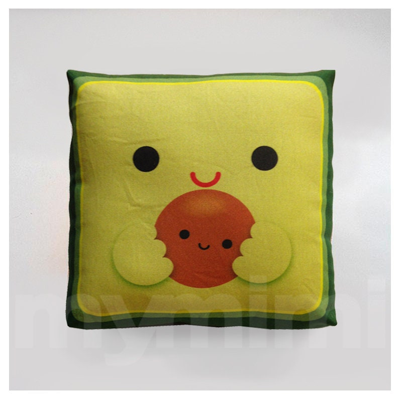Avocado Pillow Decorative Pillow Mini Pillow Kawaii Print image 0