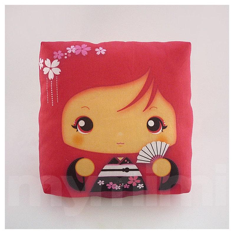 Kawaii Girl Girls Pillow Geisha Pillow Red Pillow Japanese image 0