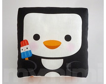 """Decorative Pillow, Penguin Pillow, Animal Pillow, Black and White, Stuffed Toy, Kawaii, Baby Shower, Room Decor, Childrens Toys, 7 x 7"""""""