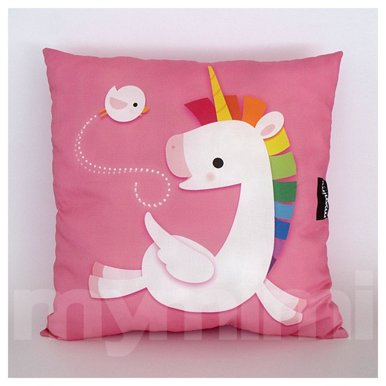 16 x 16 Decorative Pillow Rainbow Unicorn Unicorn image 0