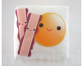 "Food Pillow, Egg Pillow, Bacon Pillow, Breakfast Food, Throw Pillow, Cushion, Kawaii, Home Decor, Kids Room Decor, Playroom Decor, 7 x 7"""