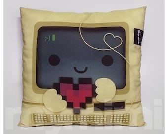 """12 x 12"""" Office Decor, Lumbar Pillow, Vintage Computer, Retro, 8bit Heart, Nerdy Office Pillow, Toy Pillow, Kawaii, Techie Dorm Decor"""