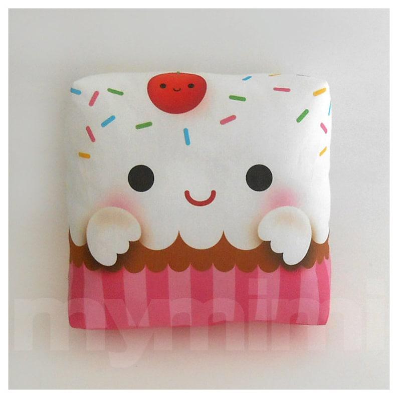 Decorative Pillow Cupcake Pillow Rainbow Sprinkles Birthday image 0