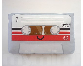 Cassette Tape Grey Cute Retro Music - Decorative Pillow - Throw Pillow - Old School - 80s - Music - Novelty - Dorm - Room Decor - 9 x 6""