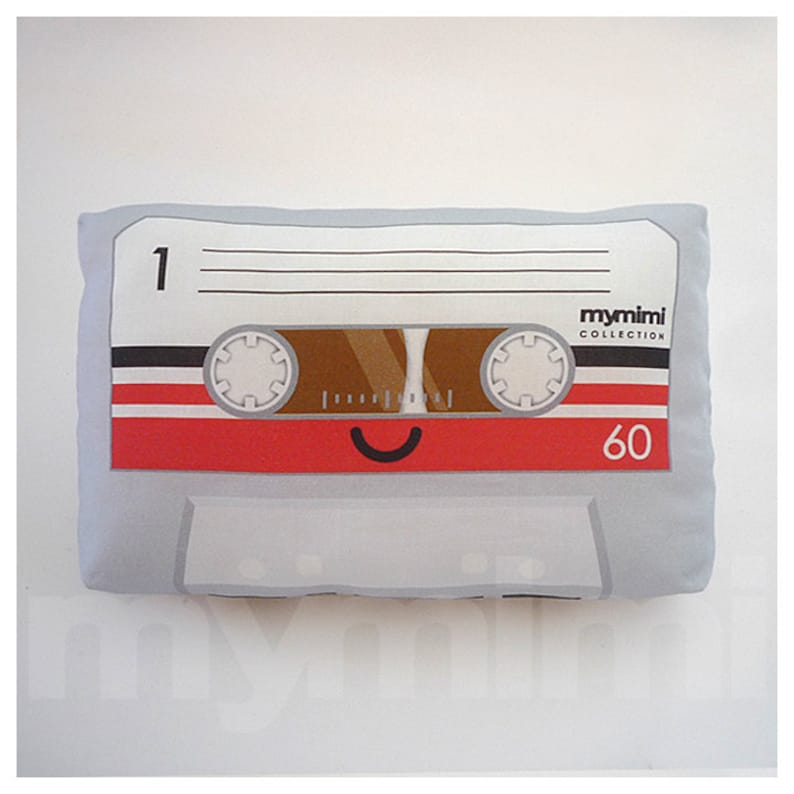 Cassette Tape Grey Cute Retro Music  Decorative Pillow  image 0