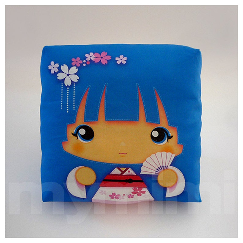 Kawaii Girl Girls Pillow Geisha Pillow Blue Pillow image 0
