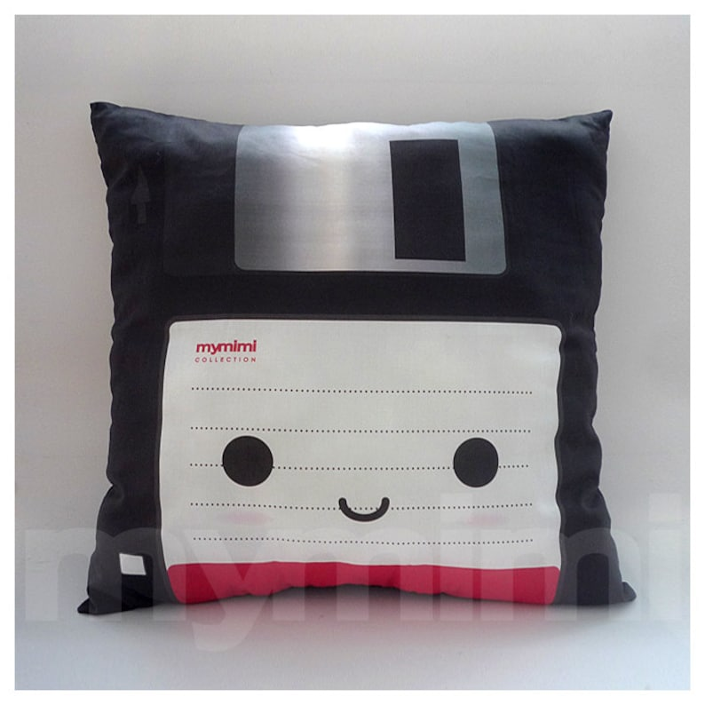 Decorative Pillow Floppy Disk Geekery 80's Retro image 0