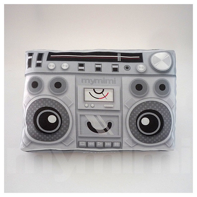 Decorative Pillow Boombox Pillow Music Pillow Vintage image 0