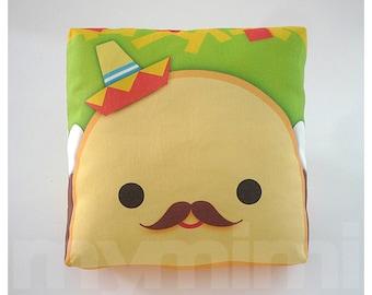 "Decorative Pillow, Taco Pillow, Sombrero Pillow, Mexican Food, Throw Pillow, Kawaii, Cushion, Room Decor, Childrens Toys, 7 x 7"""