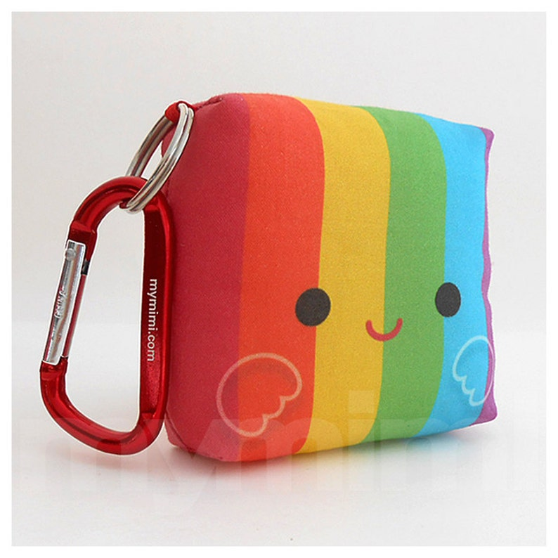Toy Keychain Rainbow Pillow Kawaii Toy Backpack Charm Kids image 0