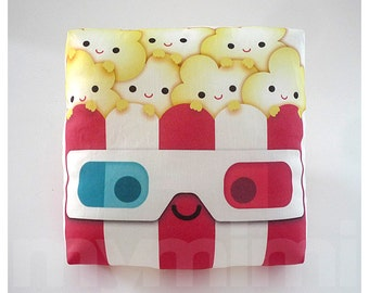 """Decorative Pillow, Popcorn Pillow, Geek Pillow, 3D Glasses, Movie Night, Red and White, Kawaii, Cushion, Room Decor, Childrens Toys, 7 x 7"""""""