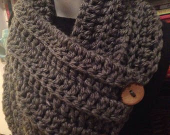 Steel Gray Cowl, Chunky Convertible Neck Warmer 3 Buttons