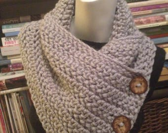 Light Gray Cowl, Chunky Convertible Neck Warmer 3 Buttons