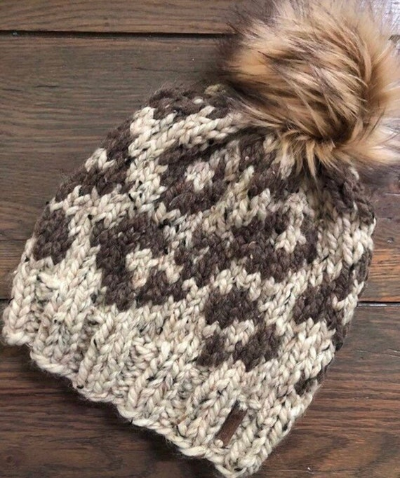 Knitting Pattern Animal Attraction Leopard Print Pompom Hat Etsy