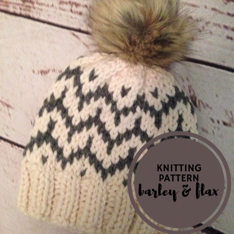 a6217f29b22b KNITTING PATTERN Fair Isle Barley Cheveron Pompom Hat PDF Knit | Etsy