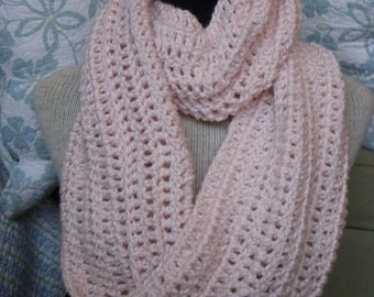 Pink Infinity Cowl, Pale Peony Crochet Neck Warmer Mobius Endless Scarf
