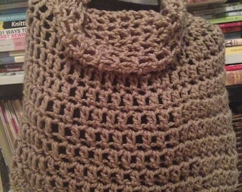 Taupe Chunky Crochet Bennington Capelet Cowl Poncho