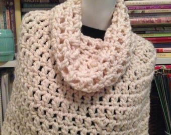 Cream Chunky Crochet Bennington Capelet Cowl Poncho