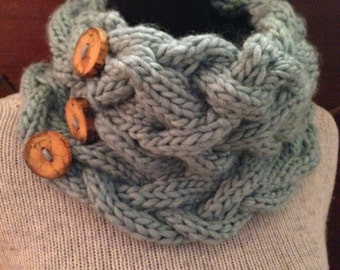 Seafoam Knit Cowl, Pale Aqua Knitted Cable Scarf, Sea Foam Chunky Neck Warmer Wood Buttons